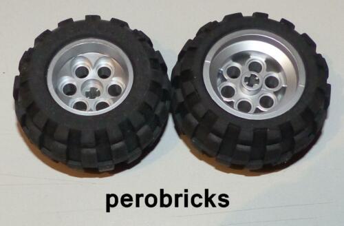 2 Räder Rad Reifen 56 x 30R silberne Felgen Lego Technic Technik
