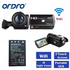 Ordro-D395-3-0-034-Touch-Screen-1080P-Digital-Video-Camera-IR-CUT-Infrared-w-Battery