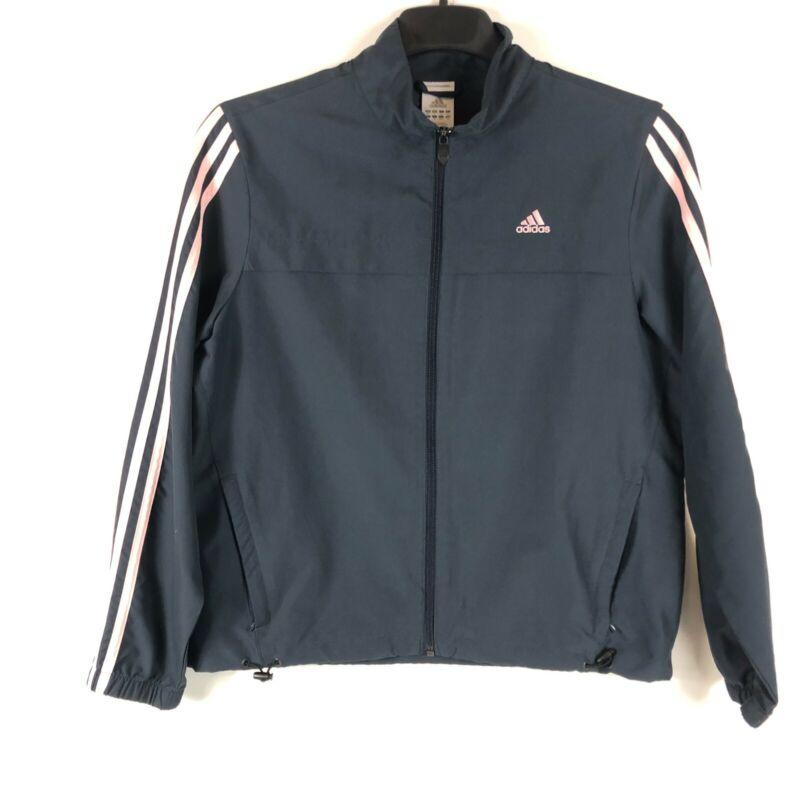 Dashing Adidas 3 Stripes Track Jacket Womens Size L Navy Blue Pink Full Zip
