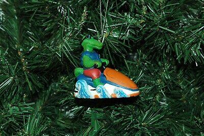 Jet Ski Alligator Gator Glass Christmas Ornament 3.5 in Tall