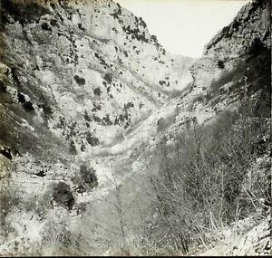 Montagne-Rochers-c1900-Photo-Stereo-Grande-Plaque-Verre-VR9L8n9
