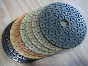 "5"" 125mm Diamond Best Quality Polishing Pad 7 PCS Granite Concrete Glass Marble"