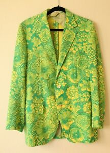 16caf4b1f7f879 Lilly Pulitzer Mens Stuff Palm Beach Jacket Green Yellow Vintage 70s ...