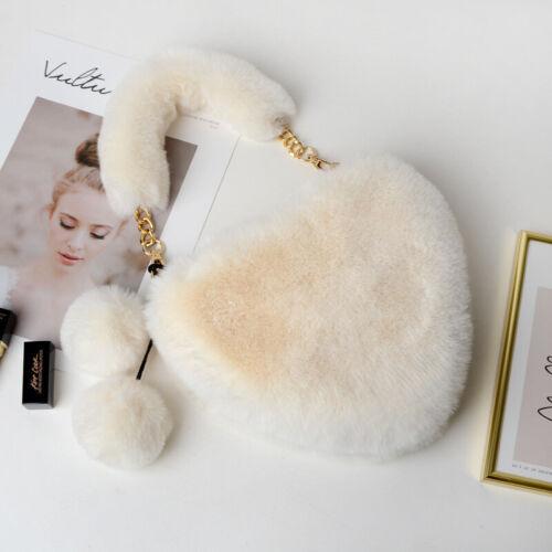 Details about  /Heart Shaped Fluffy Faux Rabbit Fur Handbag Tote Bag Women Girl Presents Kawaii