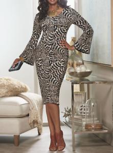 Ashro-Brown-Animal-Print-Bell-Sleeve-Jamilah-Dress-Church-S-M-L-XL-1X-3X-PLUS