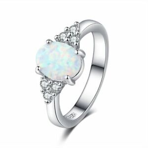 Fire-Opal-Wedding-Engagement-Ring-Silver-Fashion-Gemstone-Jewelry-All-Sizes