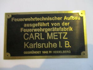 Nameplate-Carl-Metz-Fire-Department-S21