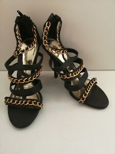 """dorothy perkins black and gold strappy 45"""" high heel"""