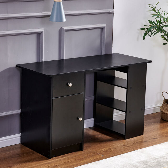 Black Computer Desk With 3 Drawers, Black Desk With Shelves