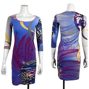 JUST CAVALLI- Womens Size S Multicolor Jersey Knit Bodycon Dress Geometric Print