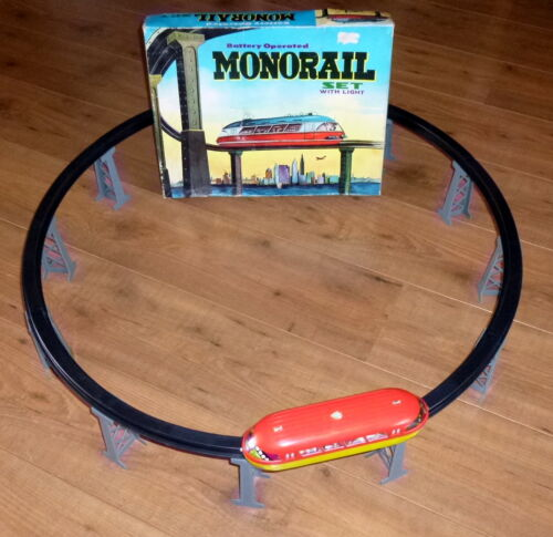 Hong Kong Vintage Rare 1960's # Battery Operated MONORAIL TRAIN SET Boxed !!