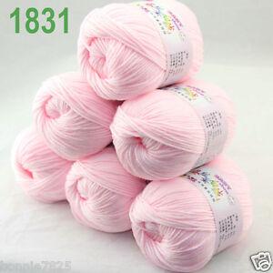Sale-6-ballsx-50gr-DK-Baby-Soft-Cashmere-Silk-Wool-hand-knitting-Crochet-Yarn-31