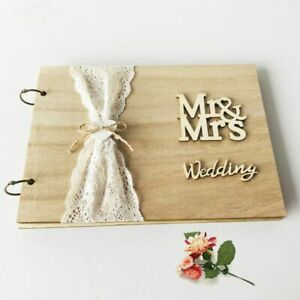 Details About Mr Mrs Wedding Guest Book Personalized Rustic Wooden Signature Guestbook Diy