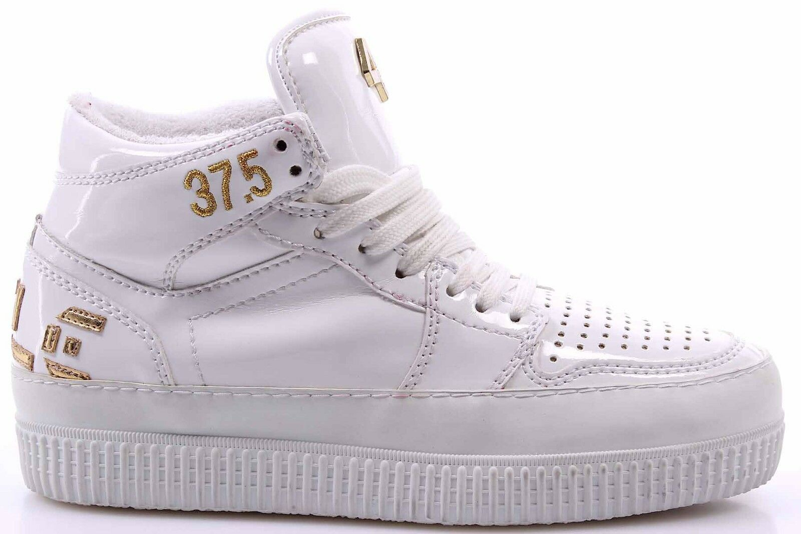 Women's High Top Sneakers shoes CYCLE 371246 Vern white Lux gold Leather White