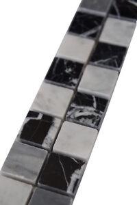Marmor Mosaik Bordure Schwarz Grau Weiss 5x30 Cm Naturstein Fliesen