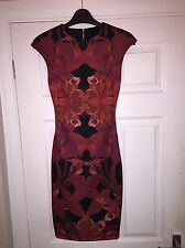 Ted Baker Dress Tb Size 0 Which Is A 6-8 Red And Black Pattern Pencil Midi Dress