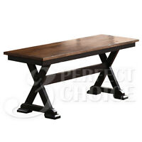 Cambridge Country Dining Bench Wooden Seat Distressed Rustic Wood Oak & Black