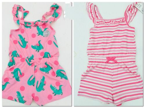 2 x New George Age 2-3 Years Girls Pink Playsuit Cotton Jumpsuit Crocodile