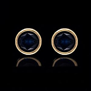 1-00-Ct-Brilliant-Blue-Sapphire-Bezel-Earrings-14k-Solid-Yellow-Gold-Round-Studs