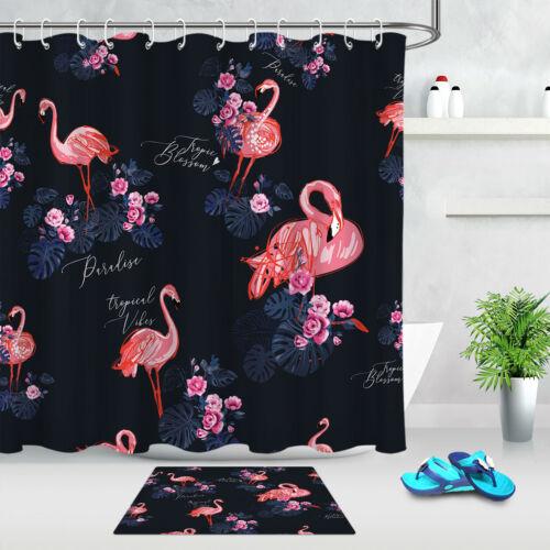 "72 /""shower Curtain Tropical Flowers Flamingo Bathroom Decor Waterproof Fabric"