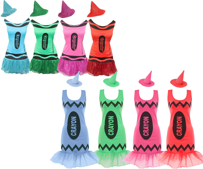 LADIES CRAYOLA CRAYON COSTUME DRESS AND HAT TEACHER WORLD BOOK DAY FANCY DRESS