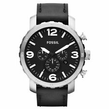 Fossil Nate Men's Chronograph Black Leather Stainless Steel Date Watch JR1436