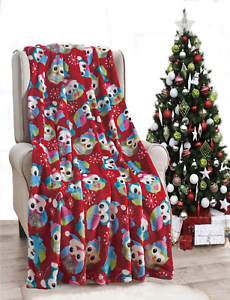NEW-Ultra-Cozy-amp-Soft-Christmas-Holiday-Owl-Plush-Warm-Throw-Blanket-50-034-x-60-034