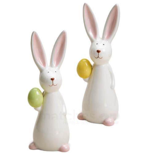 Osterhasen mit Ei Dekofiguren Ostern /& Frühling Keramik weiß bunt 2er Set 15 c