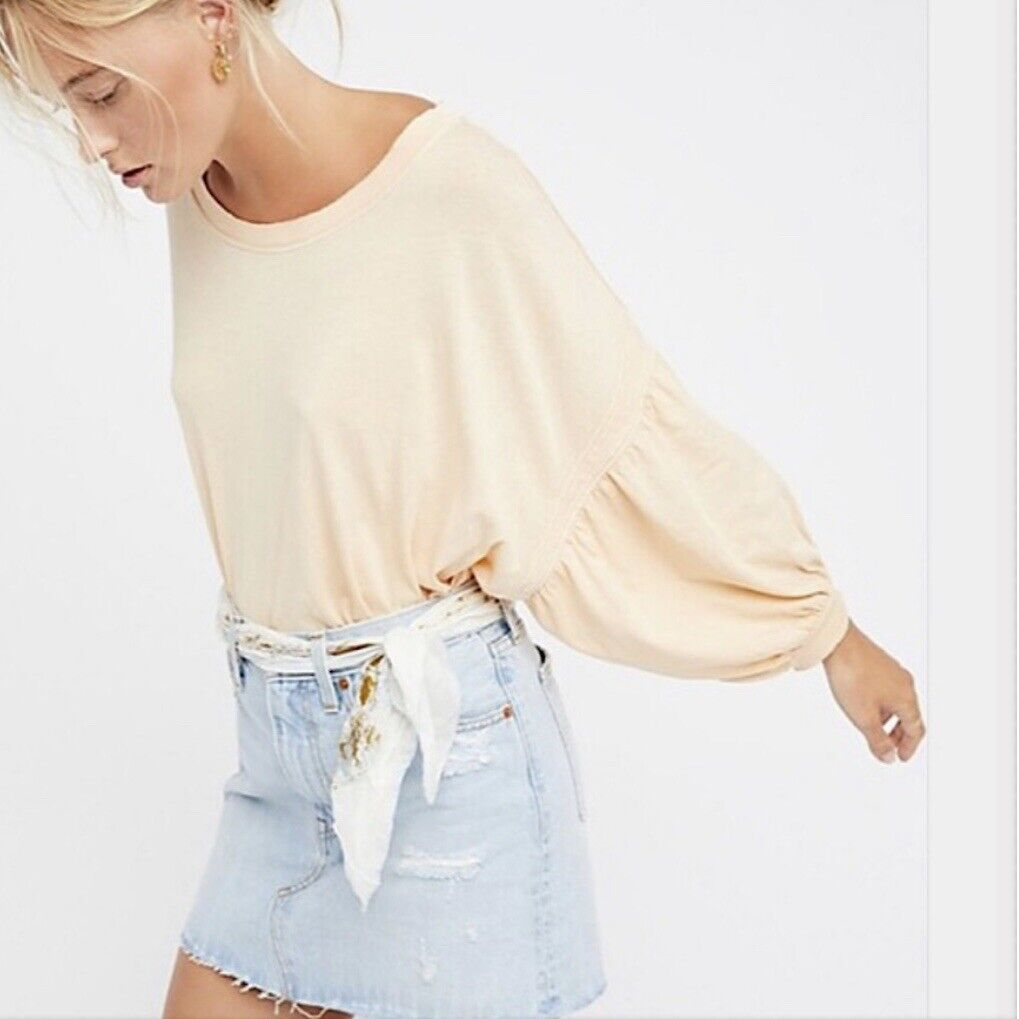 NWT Free People We The Free Sugar Rush Tee Top Sand Large L  OB614728