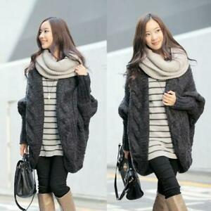 Dark-Gray-Oversized-Knitted-Sweater-Batwing-Sleeve-Tops-Cardigan-Outwear-L-amp-6