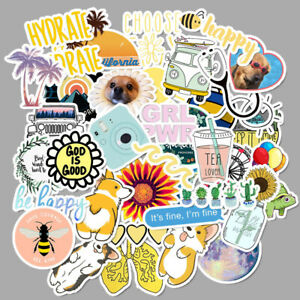 VSCO Girl Stickers 50PCS Pack Beach Cartoon Anime Cute Waterproof Stickers Visco