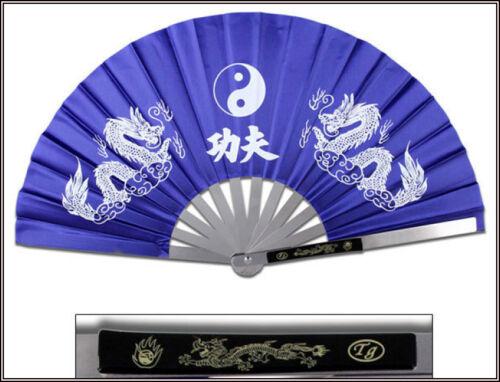 "14.75/"" OVERALL BLUE DRAGON /& TAICHI KUNG FU FAN METAL FRAME MARTIAL ARTS WEAPON"