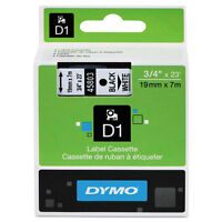 Dymo 3/4 (18mm) Black On White Label Tape For Dymo 2000