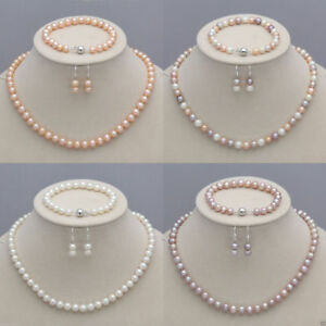 7-8mm-8-9mm-Real-Natural-Freshwater-Pearl-Necklace-Bracelet-Earrings-Jewelry-Set