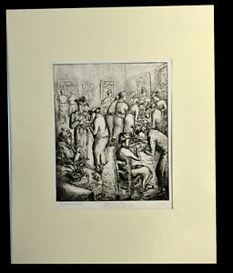 """12"""" Antique 1938 Esther Meyer Etching Afternoon Tea San Francisco Museum of Art"""