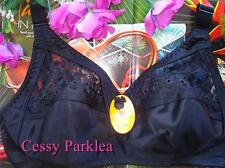 Black Embroidery Wire Free Non-Padded Bras UK/US 42/95D, FR 110D, AU 20D