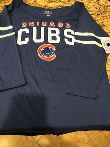 Chicago-Cubs-Baseball-3-4-Sleeve-Shirt-Genuine-Merchandise