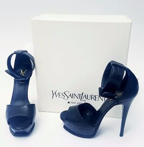 bca07b354a Details about 100% YSL Yves Saint Laurent Black Open Toe Strappy High Heels  Size 7 w Box