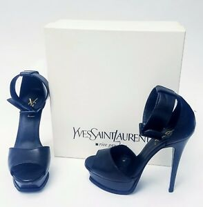 13ac30e9a5 Details about 100% YSL Yves Saint Laurent Black Open Toe Strappy High Heels  Size 7 w Box