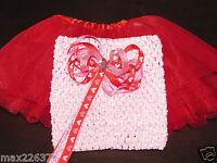 Red Tutu Crochet 6 Top & Heart Bow Valentines Baby Size Newborn - 12 Months