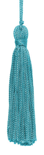 """Set of 10 Turquoise 3/"""" Chainette Tassels Turquoise"""