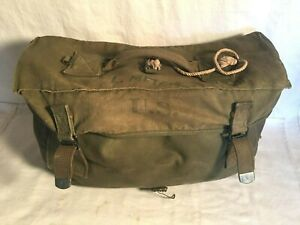 WWII-BOYT-1944-Canvas-US-Army-RUBBER-LINED-Musette-Bag-RUCKSACK-FIELD-Bag