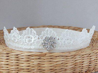 off white baby hair band Lace headband baptism christening tiara UK Handmade