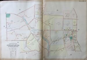 ORIG 1900 MONTGOMERY COUNTY, PA, MERION SQUARE & CRICKET CLUB, PLAT ATLAS MAP