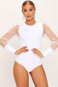 Women-Sexy-Polka-Dot-Sheer-Mesh-Long-Puff-Sleeve-Bodysuit-Leotard-Tops-Jumpsuit