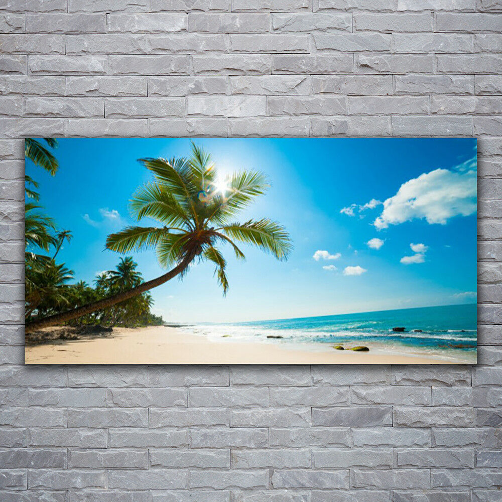 Print on Glass Wall art 120x60 Picture Image Palm Tree Beach Sea Landscape