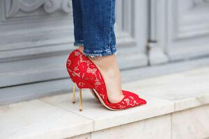 Kurt-Geiger-London-Bond-Red-Lace-Court-Shoes-Size-7-40-High-Heels-RRP-220-New