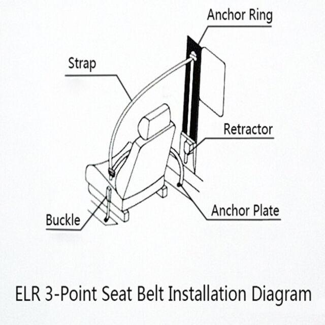 2x Adjustable 3 Point Retractable Auto Car Seat Lap Belt Kit Black