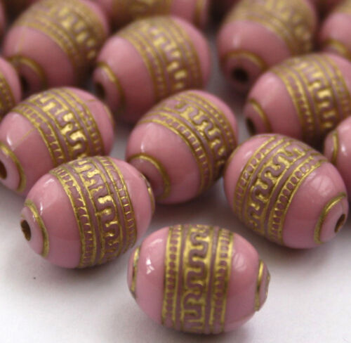 20 x Pink Gold Metal Enlaced Jewellery Making Beads 9 x 13mm