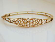 Finest antigua victoriana Antique Victorian 15ct oro perla conjunto con bisagras brazalete de c1895 en el caso cabido